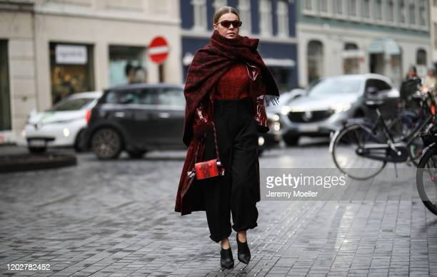 Fashion Week guest wearing a complete Lala Berlin look before Blanche on January 28, 2020 in Copenhagen, Denmark.