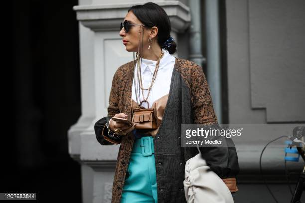 Fashion Week guest wearing Chanel shade and a mini Boyy bag before Gestuz Presentation on January 28, 2020 in Copenhagen, Denmark.