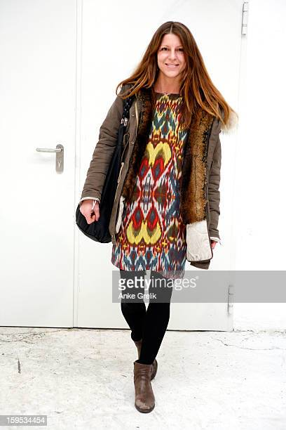 Fashion Week guest wearing CIst tout dress attends Premium Mercedes-Benz Fashion Week Autumn/Winter 2013/14 at venue on January 15, 2013 in Berlin,...