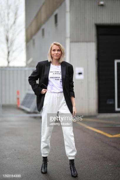 Fashion Week guest wearing Lala Berlin shirt before LalaBerlin on January 30, 2020 in Copenhagen, Denmark.