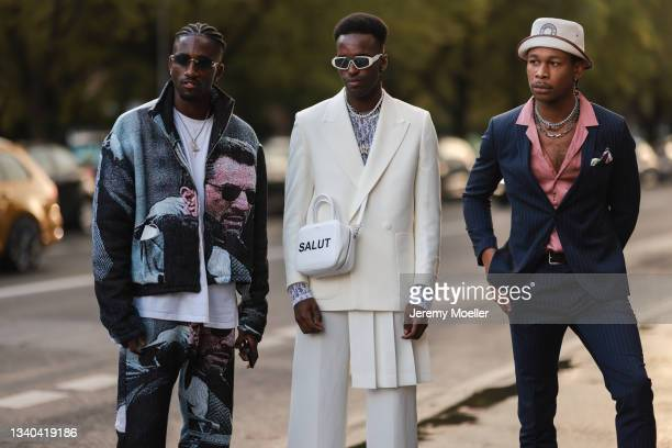 Fashion Week Guests arriving at the About You Fashion Week on September 11, 2021 in Berlin, Germany.