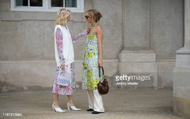 Fashion Week guests on August 08, 2019 in Copenhagen, Denmark.