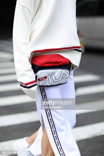 Fashion Week visitor wearing a complete Fila outifit during the New York Fashion Week on September 07 2017 in New York