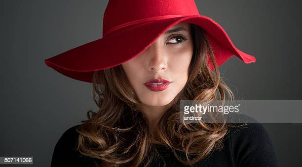 Fashion woman wearing a red hat