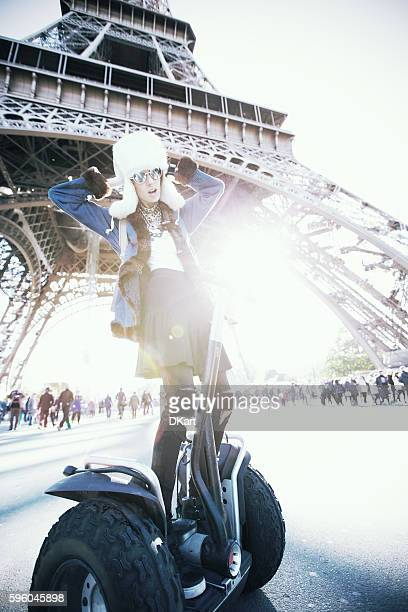 fashion women in paris - segway stock pictures, royalty-free photos & images