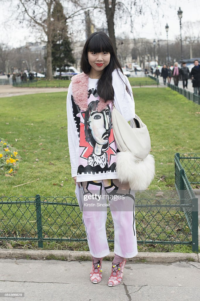Fashion writer and blogger Suzie Lau wears Beth Postle top and trousers and Sophia Webster shoes day 2 of Paris Haute Couture Fashion Week Spring/Summer 2014, on January 21, 2014 in Paris, France.