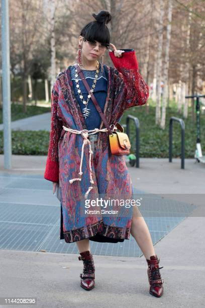 Fashion writer and Digital Influencer Susie Lau wears all Chloe on February 28 2019 in Paris France