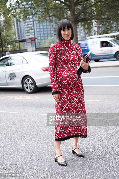 Fashion writer at Instagram Eva Chen wears a Proenza Schouler dress and day 4 of London Womens Fashion Week Spring/Summer 2016 on September 19 2016...