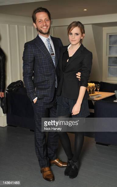 Fashion writer Derek Blasberg and actress Emma Watson attend the Gucci Hosts 'Very Classy' by Derek Blasberg Dinner at Soho House on May 1 2012 in...