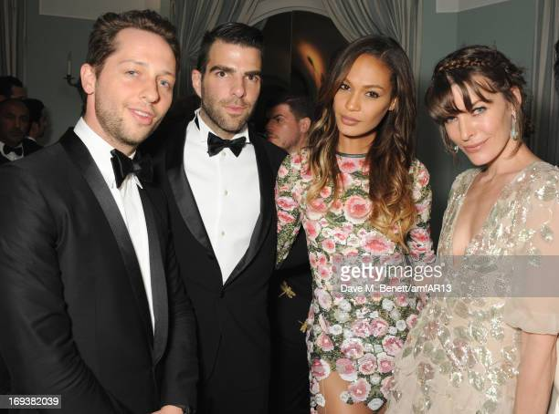 Fashion writer Derek Blasberg Zachary Quinto Joan Smalls and Milla Jovovich attend 'Moncler The After Party To Benefit amfAR' during The 66th Annual...