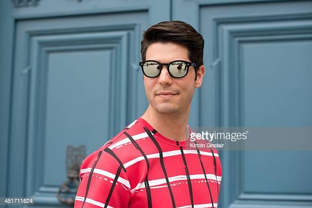 Fashion writer for I Officiel homme Kadu Dantas wearing Kenzo top and  Ventura sunglasses on a603b812c57