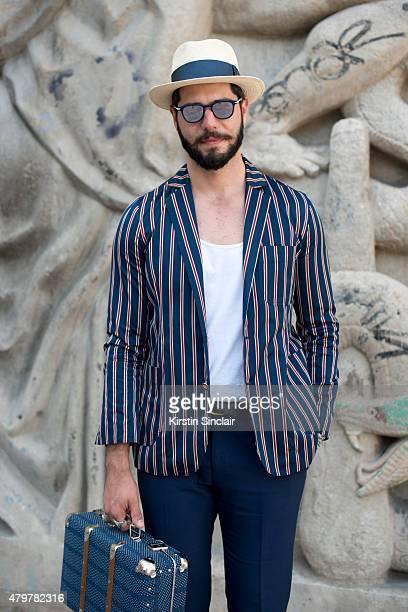 Fashion writer for L Officiel homme Kadu Dantas wears That s it Folks  jacket Gant Trousers a92af274f55