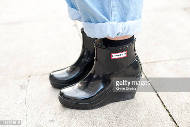 Fashion Writer for Who's Jack Anna Saunders wears vintage jeans and Hunter boots day 3 of London Mens Fashion Week Autumn/Winter 2014 on January 08...