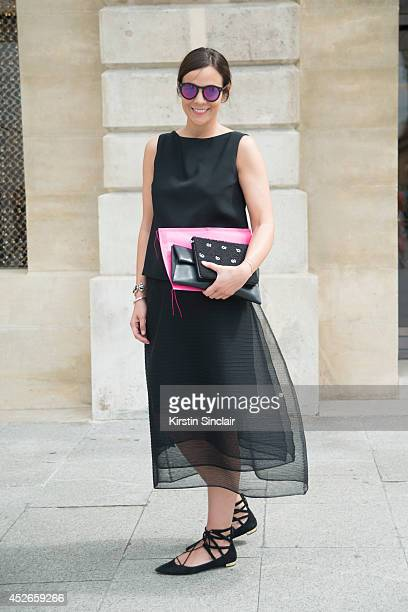 Fashion Writer Julia Warner wearing a Dorothee Schumacher dress, Aquazzura shoes, Jil Sander bag and Illesteva sunglasses day 2 of Paris Haute...