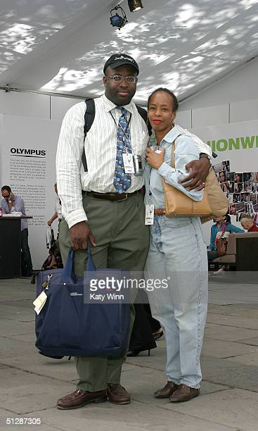 Fashion writer Philip Johnson and stylist Patrica Mosley are seen during the Olympus Fashion Week Spring 2005 at Bryant Park September 10, 2004 in...