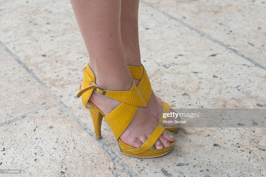 Fashion Writer Simone Torpy wears Nine West shoes on day 1 of Paris Collections: Men on June 26, 2013 in Paris, France.