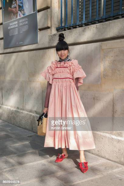 Fashion writer Susie Lau wears a Molly Goddard dress Rogue Matilda shoes Jourden mesh top day 2 of Paris Womens Fashion Week Spring/Summer 2018 on...