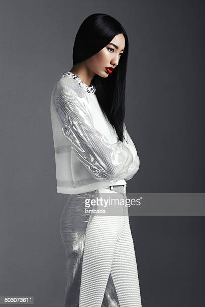 fashionable asian woman - white pants stock pictures, royalty-free photos & images