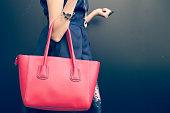 Fashionable beautiful big red handbag