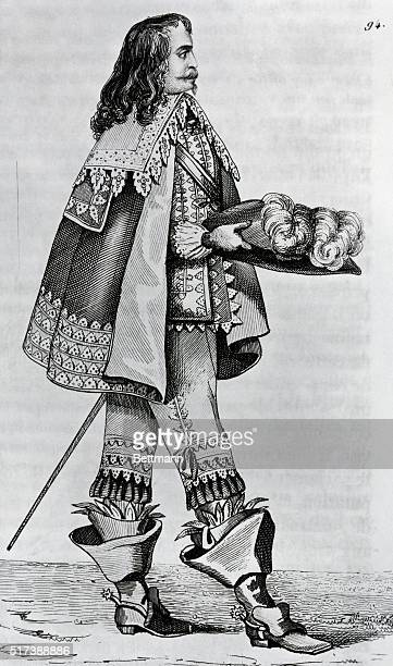 Fashionable cavalier 17th century Engraving