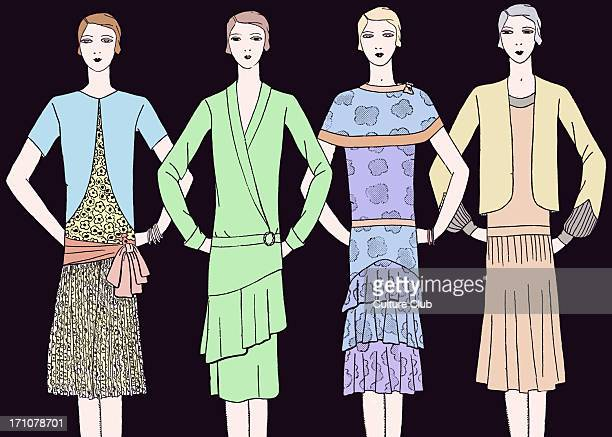 Fashionable dresses in the late 1920s Heading readsDes Modeles Elegants pour les Reunions d'Apresmidi / Elegant designs for afternoon meetings...