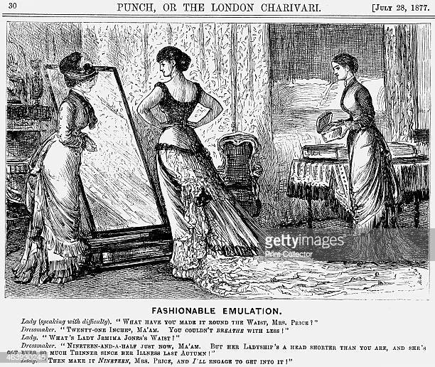 'Fashionable Emulation' 1877 In this cartoon Punch takes one of the journal's regular digs at the absurd world of ladies' fashion with a look at the...