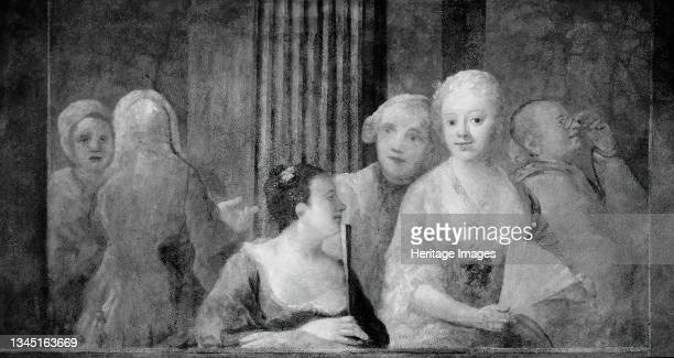 Fashionable Figures, with Two Women Holding Fans, 1733/35. Artist Unknown.