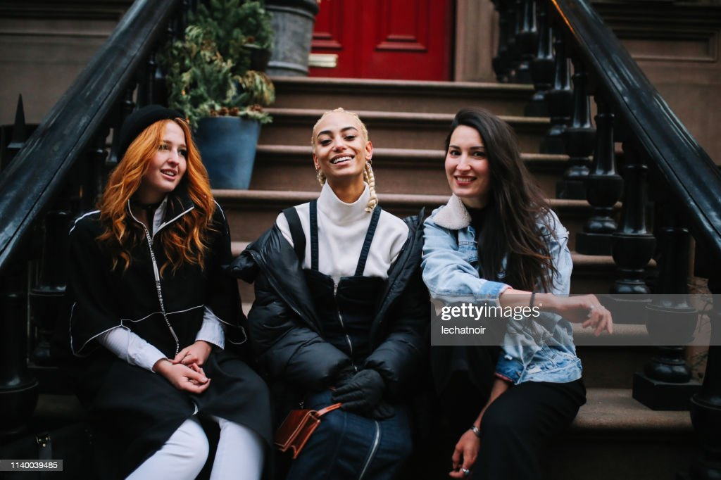 Fashionable group of female friends in Manhattan, New York : Stock Photo