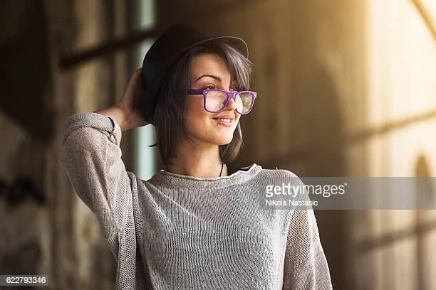 Fashionable happy lady