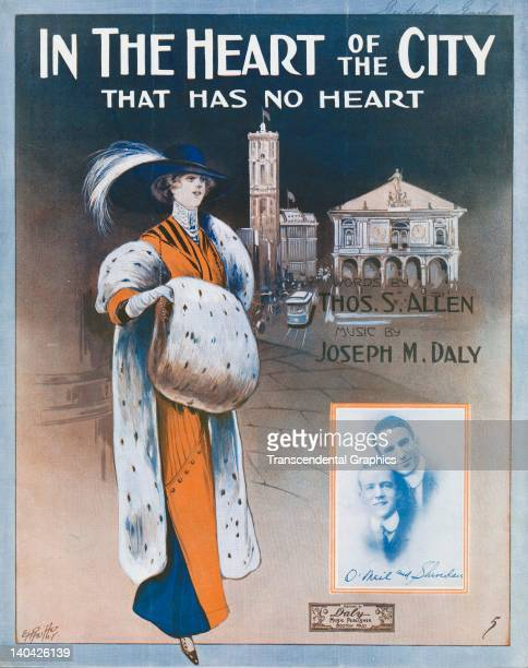 A fashionable lady is prominent on the illustrated cover of 'In the Heart of the City that has No Heart' published in Boston Massachusetts By Daly...