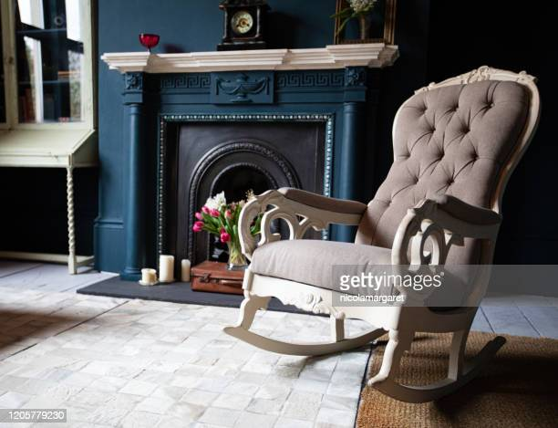 fashionable living room interior - antique stock pictures, royalty-free photos & images