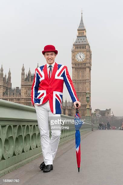 Fashionable London chap in Union Jack attire