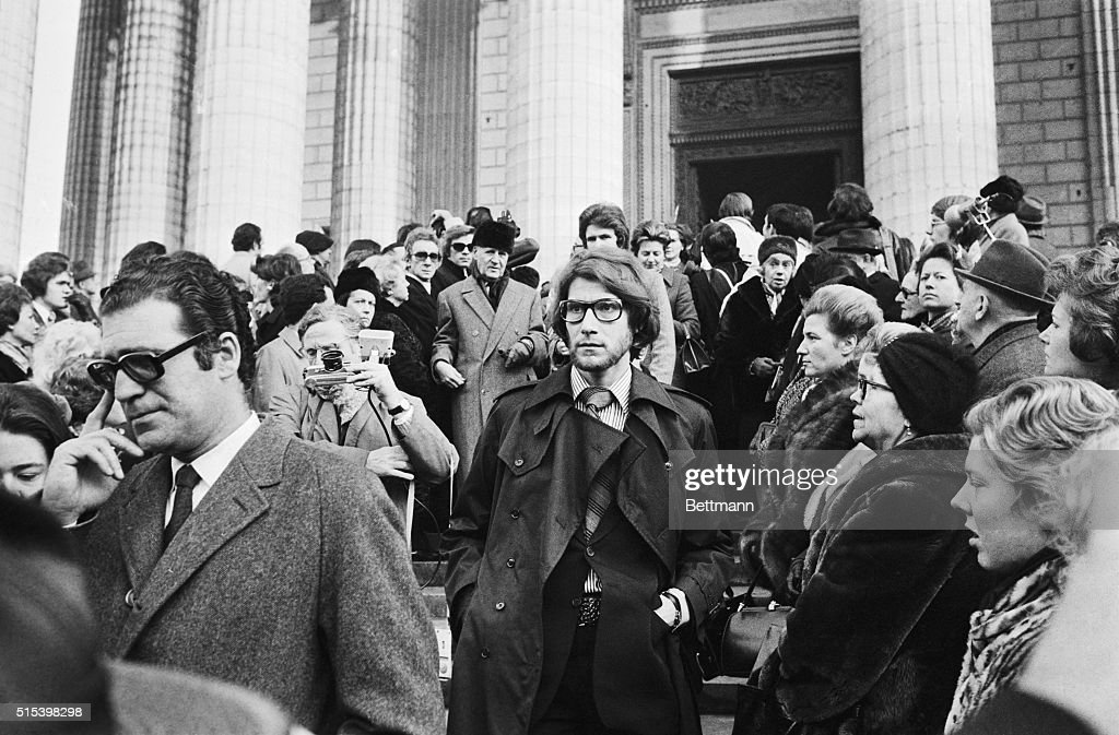 Yves Saint Laurent Leaving Mass for Coco Chanel : News Photo