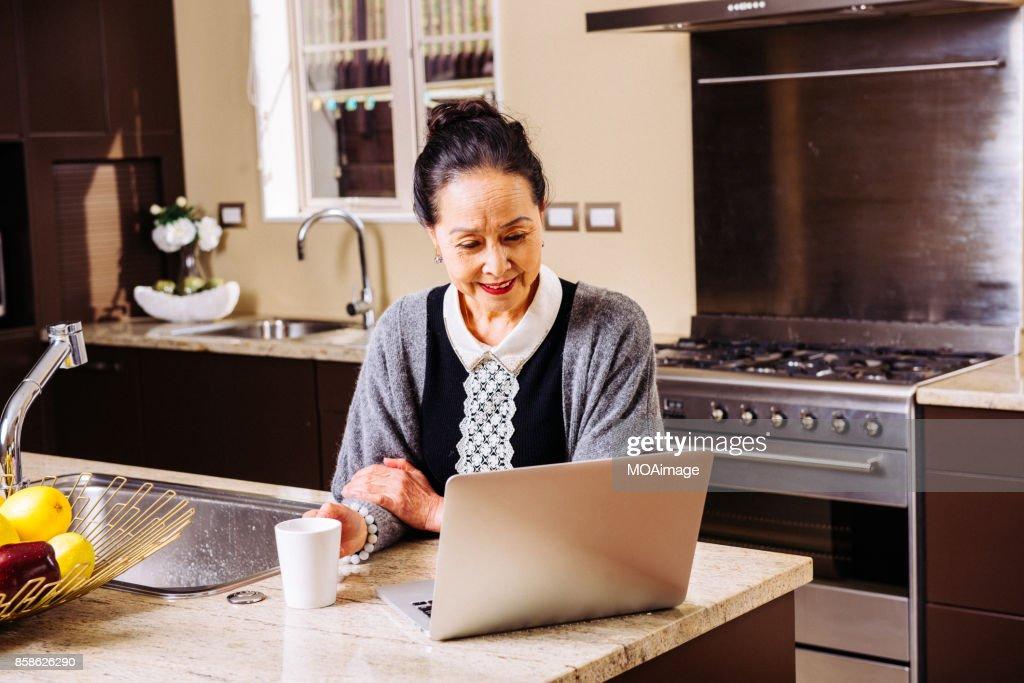 Fashionable mature woman using laptop : Stock-Foto