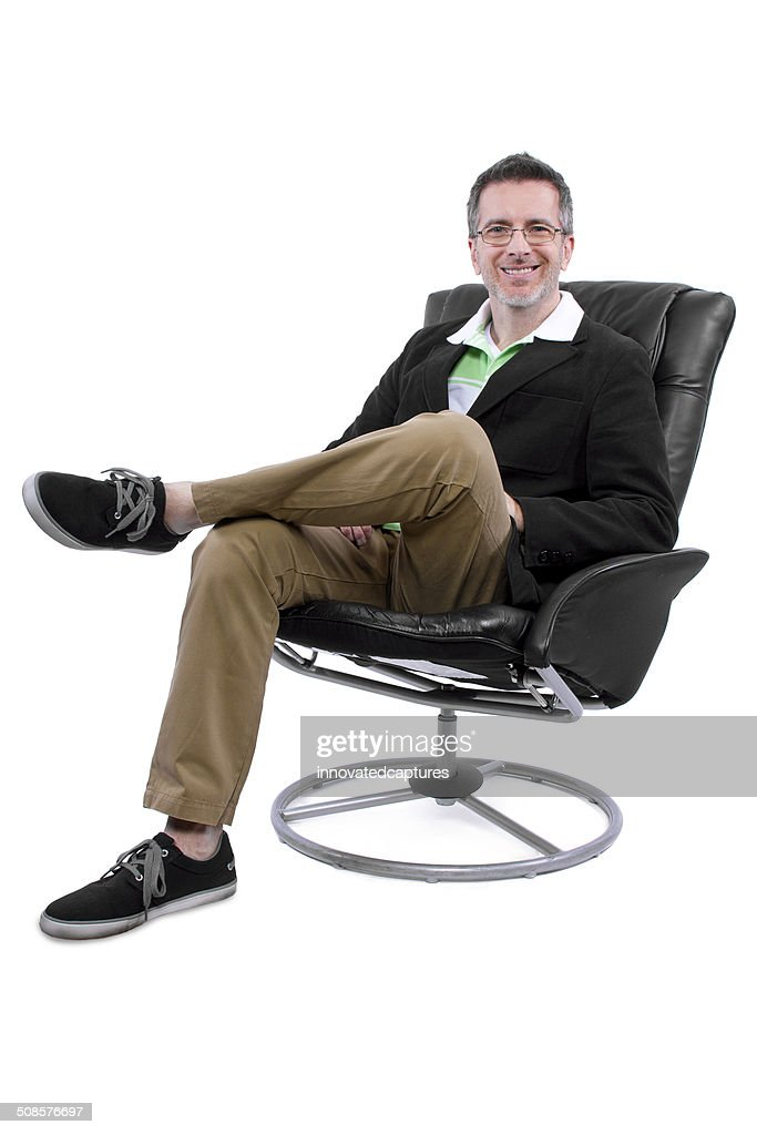 Fashionable Middle Aged Man With Shoes and No Socks : Stockfoto