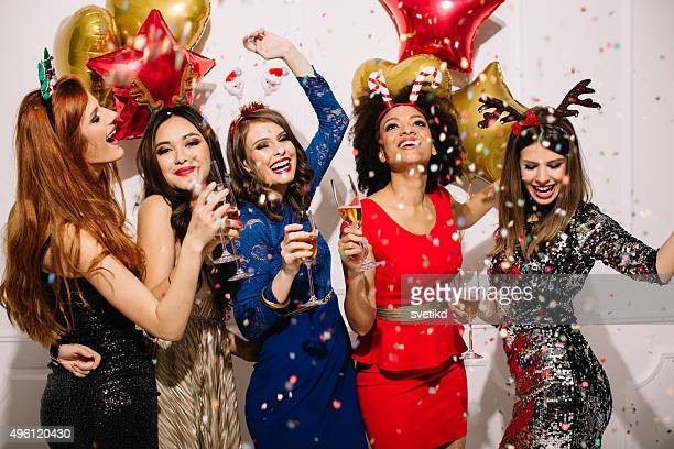 fashionable new year's party. - mongolian women stock photos and pictures