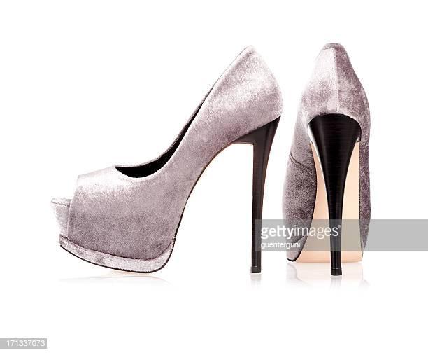 angesagte high heels mit peeptoe plateau - pumps stock-fotos und bilder
