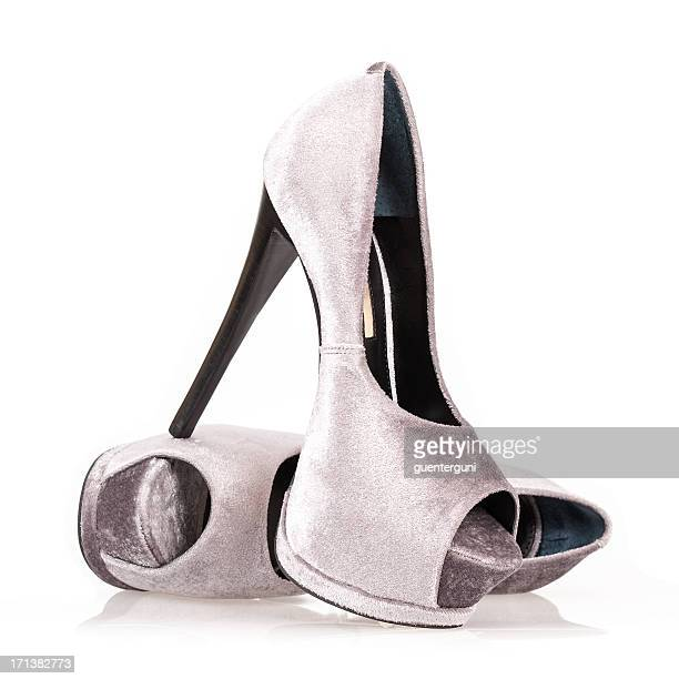 fashionable platform high heels with peeptoe - stiletto stock pictures, royalty-free photos & images