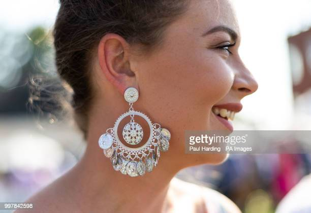 Fashionable race goers during day two of The Moet Chandon July Festival at Newmarket Racecourse