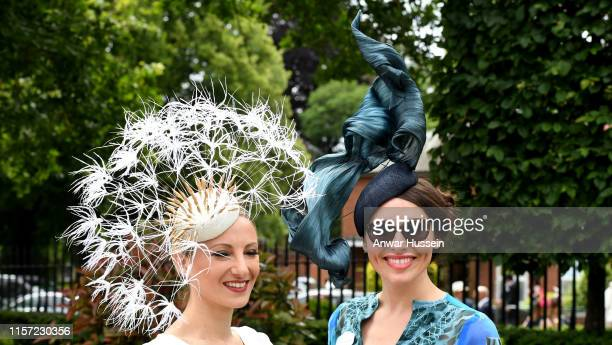 Fashionable racegoers attendsLadies Day at Royal Ascot on June 20, 2019 in Ascot, England.