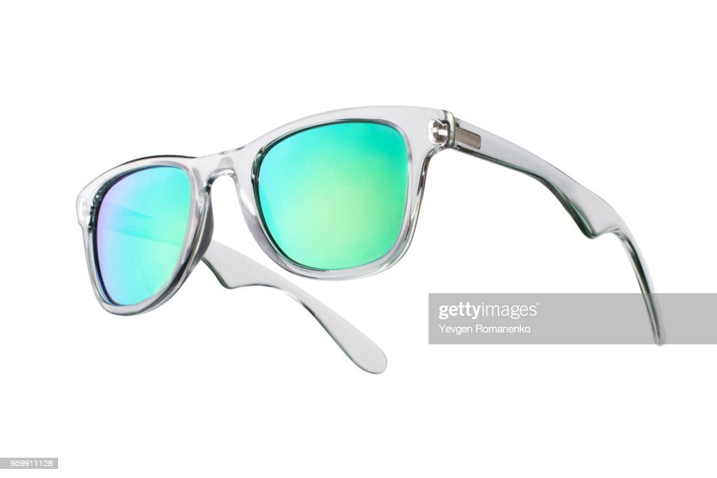 Fashionable sunglasses with green lenses. Isolated on white background : Stock-Foto
