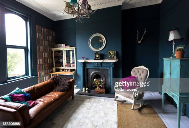 fashionable vintage styled living room - classic blue stock photos and pictures