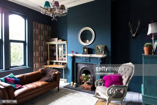 fashionable vintage styled living room - blue stock pictures, royalty-free photos & images