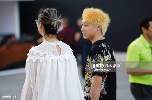Fashionable Visitors Outside Art Basel Miami Beach