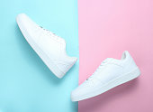 Fashionable white sneakers