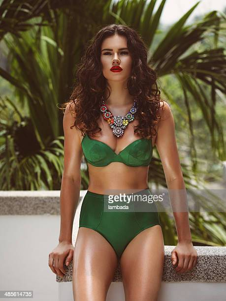 fashionable woman in bikini - swimwear stock photos and pictures