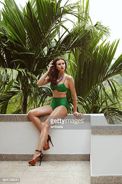 fashionable woman in bikini - beautiful long legs stock pictures, royalty-free photos & images