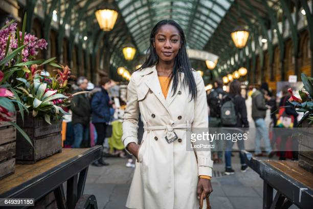 Fashionable woman in Central London markets
