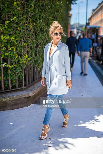 fashionable woman in the streets of milan, italy - fashion week stock pictures, royalty-free photos & images