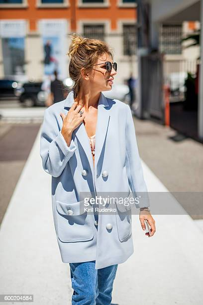 Fashionable woman in the streets of Milan, Italy
